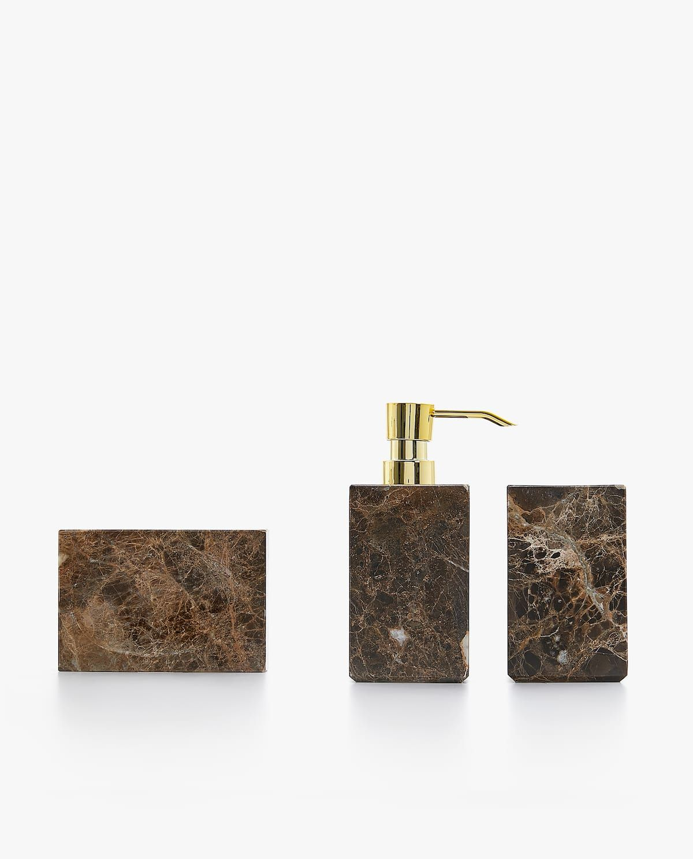 Bruine Marmeren Badkamerset Marble Bathroom Marble Bathroom Accessories Bathroom Accessories Sets