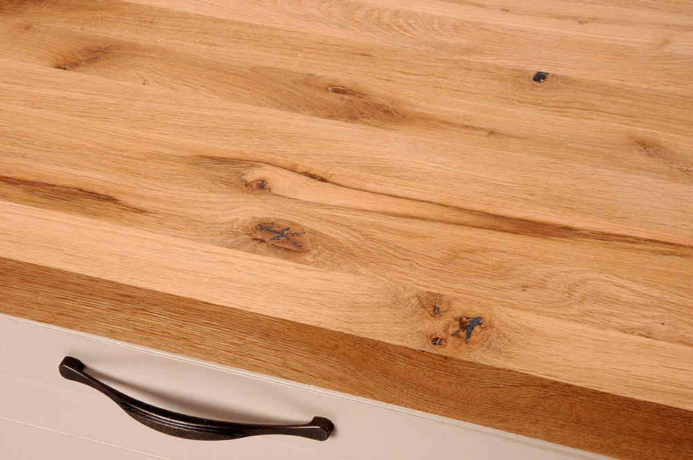 Arbeitsplatte / Küchenarbeitsplatte Massivholz Wildeiche / Asteiche DL 40 x diverse Längen x 650 mm