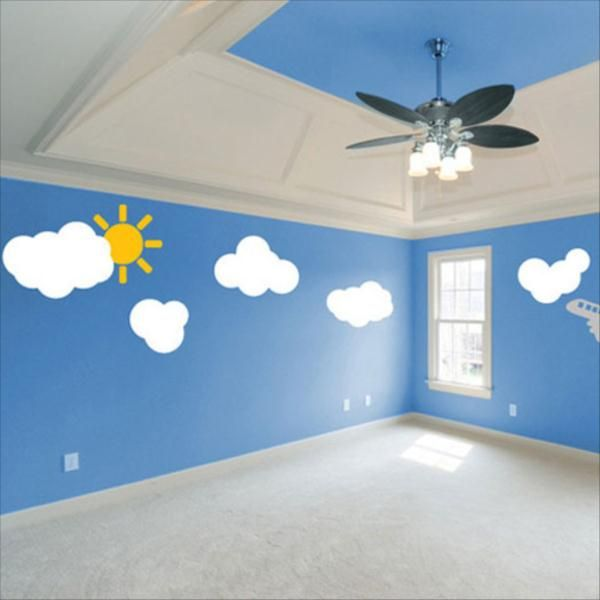 1 Bedroom Apartment Decorating Bedroom Ceiling Art Images Of Bedroom Paint Ideas Bedroom Background Cartoon: Playful Sky Wall Treatment Sky Wall Chalkboard