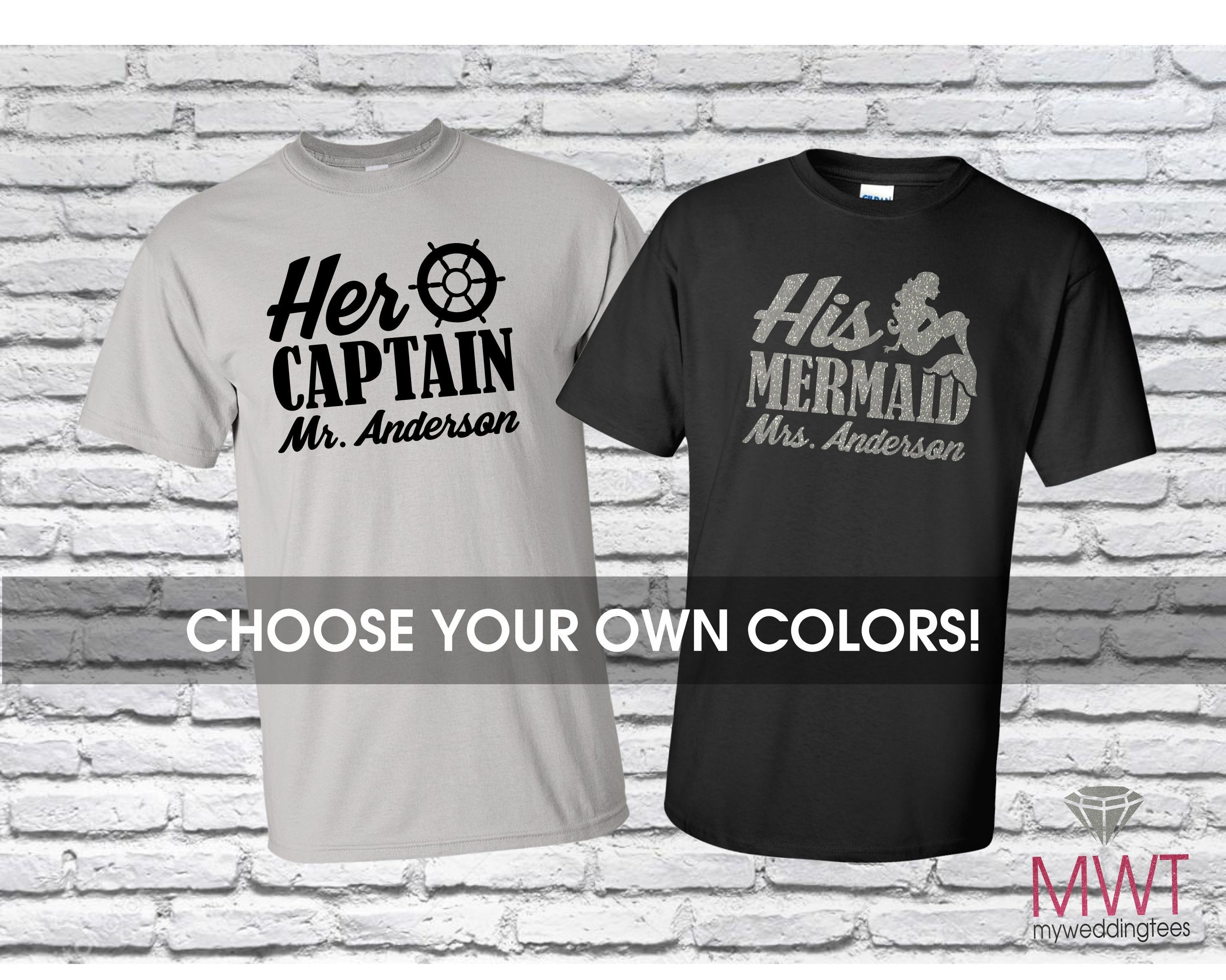 9ed1a00c Her Captain Shirt. His Mermaid Shirt. Couples Shirts. Vacation Shirts.  Honeymoon Shirts. Anniversary Shirts. Mr and Mrs Shirts. Couples Gift
