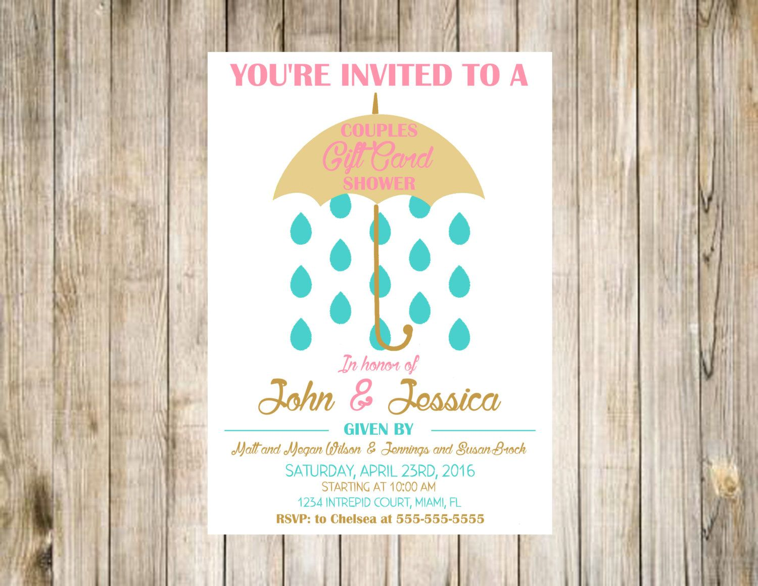 CUSTOMIZED PRINTABLE Couples Wedding Shower Invitation – Gift Card Wedding Shower