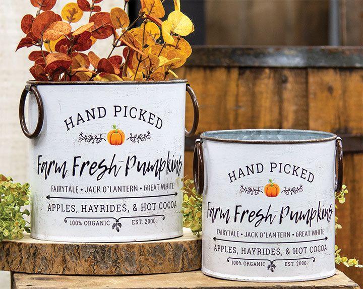 KP Creek Gifts 2/Set, Farm Fresh Pumpkins Buckets Farm