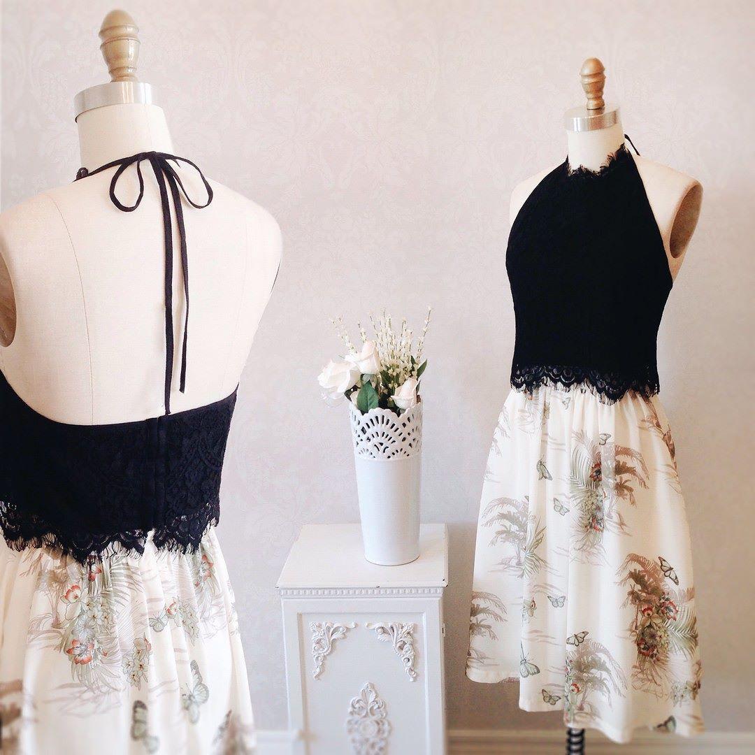 Toklo & Adannaya Prête pour l'été! #boutique1861 #plamtrees #pattern #skirt #blacklace #summeroutfit #montreal