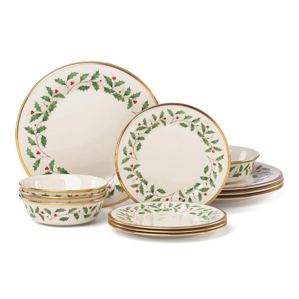 Holiday 12 Piece Plate Bowl Set Lenox Corporation Dinnerware Set Christmas Dinnerware Sets Traditional Dinnerware
