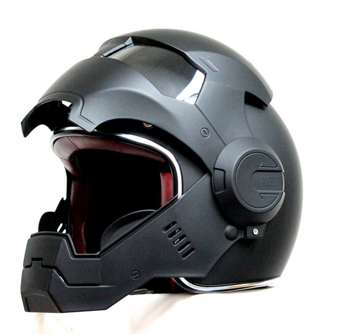Amazon.com: LC Prime® Masei 610 Matt Black Atomic Man Motorcycle Modular Open Face HJC Icon DOT Helmet: Automotive