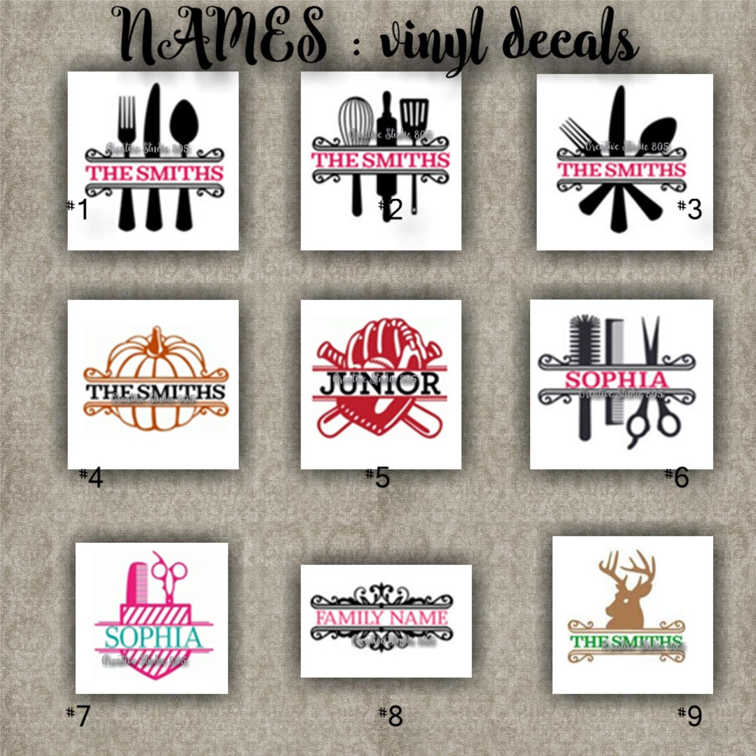 Family names vinyl decals last name initial decal sticker car decals car stickers laptop sticker 1 9 by creativedecals805 on etsy