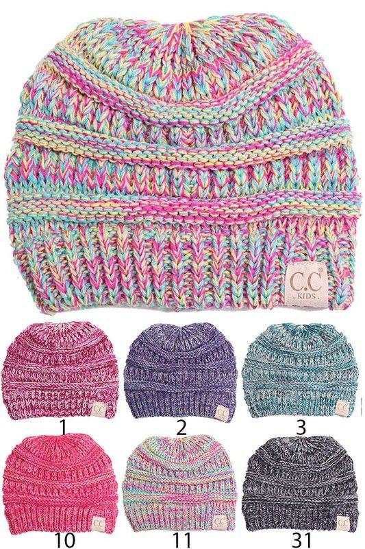 c0ef038290e Kids Multi Color Knit Beanie Hat by CC