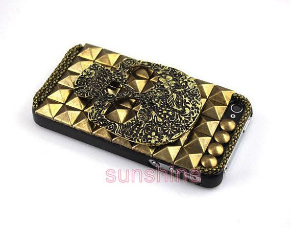 iPhone 4 case, iPhone 4 cover, iPhone 4S case,iPhone 5 case, Studded Cool  iPhone 5 case, Bronze Style iPhone cases, Studded iPhone cases via Etsy