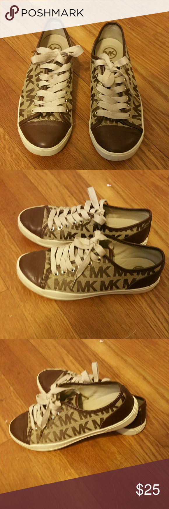 Michael Kors tennis shoes Gold thread laced shoe with brown MK logo Michael Kors Shoes Flats & Loafers