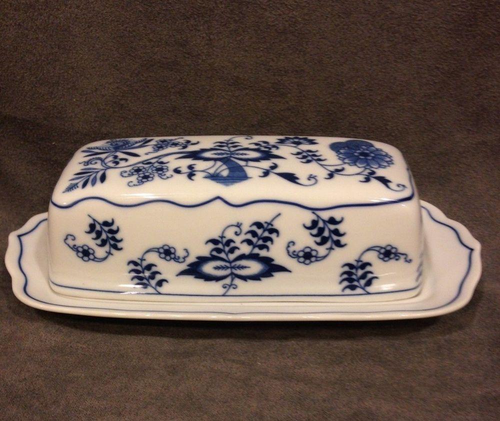 Blue Danube Japan Covered Butter Dish 1/4 LB Rectangle Mark #BlueDanube & Blue Danube Japan Covered Butter Dish 1/4 LB Rectangle Mark ...