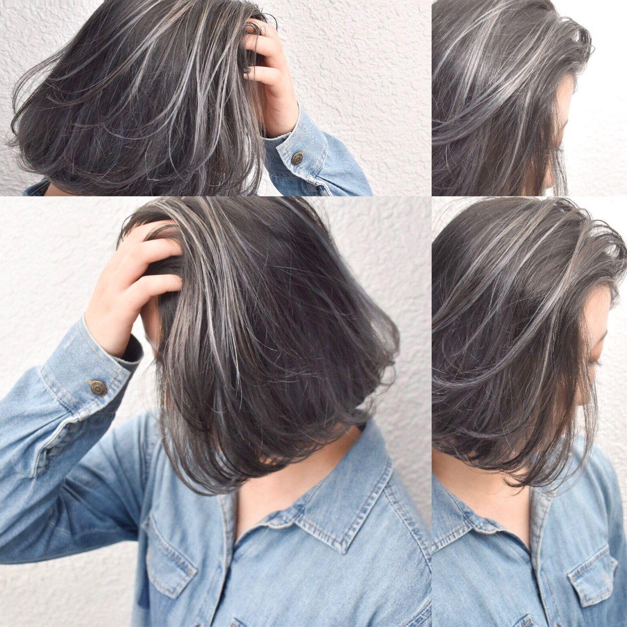外国人ハイライト ホワイトグレー ハイライト 髪 髪 カラー 髪 色
