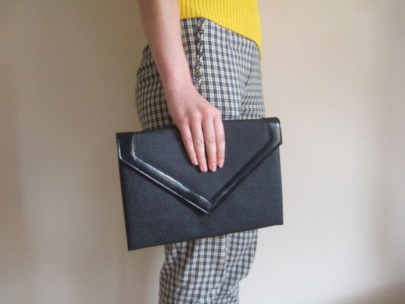 Vintage 80s oversize black envelope clutch bag @ StellaRoseVintage, £25.00
