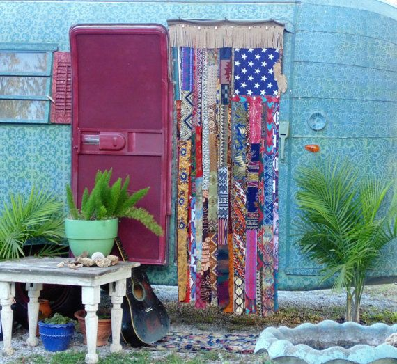 Charmant BOHO American Flag HIPPIE Door Curtain Doorway Privacy Beads Shells Fringe
