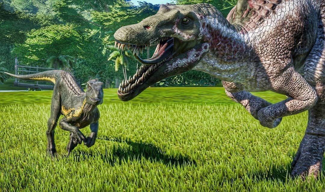 Follow Gaming Shots And Vids The Indoraptor And Spinosaurus Jurassicworld Evolution Xboxone X Indor Jurassic Park World Spinosaurus Jurassic World Dinosaurs