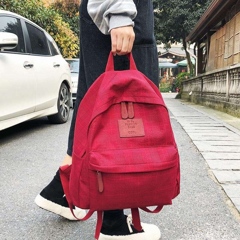 One Color Textile Backpack Womens Backpack Ladies Backpack Bags Cotton Travel Bag