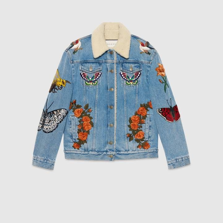 c01b6a7519cc Shop the Embroidered denim jacket by Gucci. Inspired by a patched denim  jacket Alessandro Michele hand-stitched to wear on a trip to LA