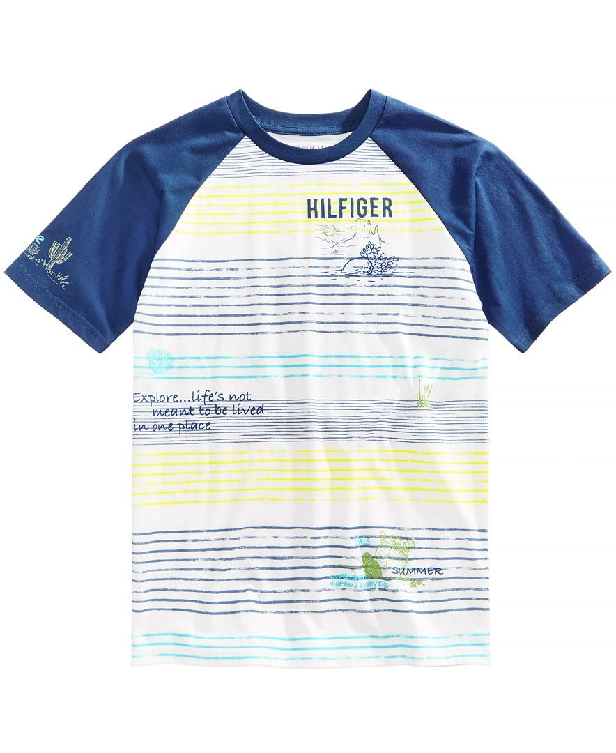2d16709b Contrasting raglan-style sleeves highlight the cool look and comfortable  fit of this go-to crewneck T-shirt from Tommy Hilfiger.