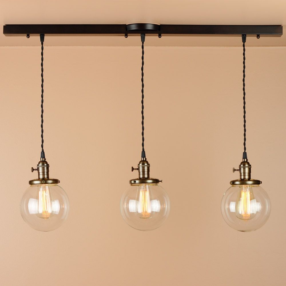 $335 3 Light Chandelier - Linear Pendant Lights - with 6 inch ...