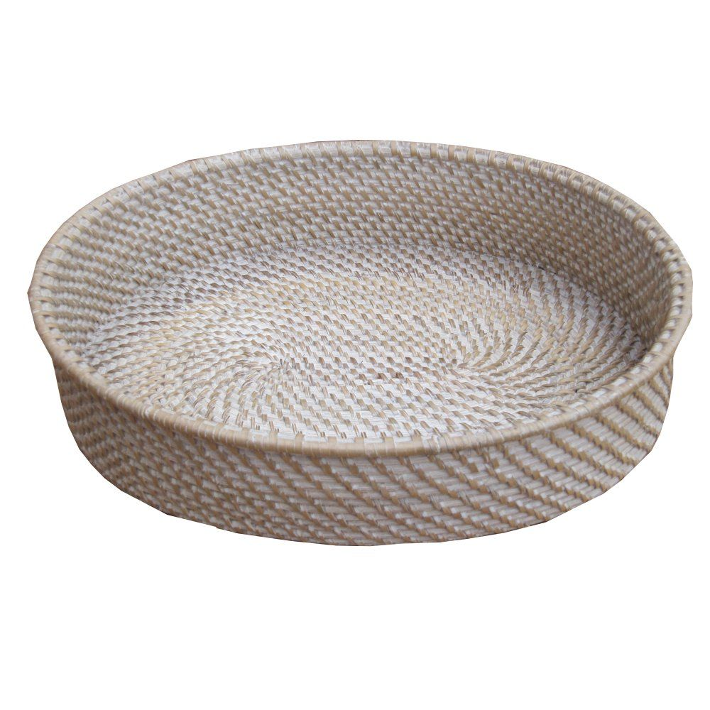 Wonderful White Wash Oval Rattan Storage Basket Tray Great Pictures