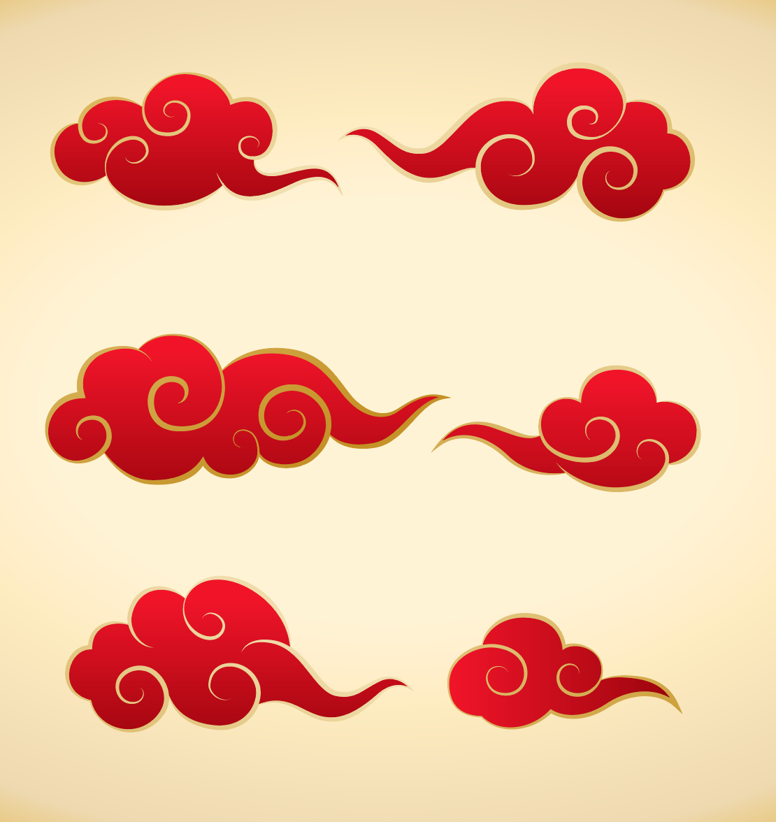 Chinese Traditional Clouds Shape Abstract Images Modern Graphic Design Abstract