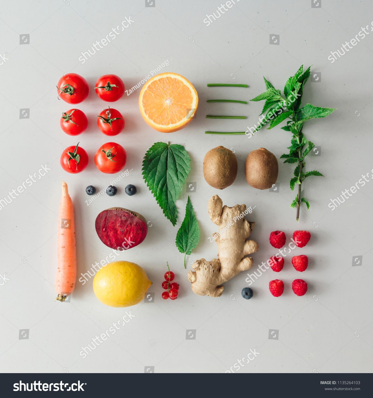 Creative Neatly Arranged Food Layout With Fruits Vegetables And Leaves On Bright Background Minimal Healthy Food Concept F Food Concept Food Healthy Recipes