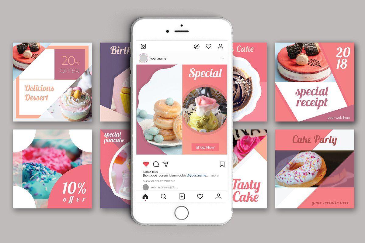 Promotional Bakery Social Media Pack Social Media Pack Photoshop Template Design Restaurant Social Media