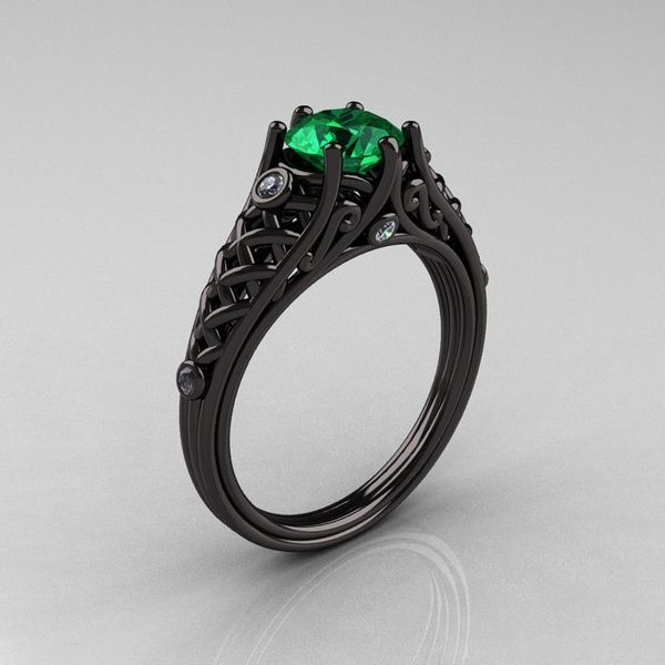 Designer Exclusive Classic 18K Black Gold 1.0 Carat Emerald Diamond Lace Ring