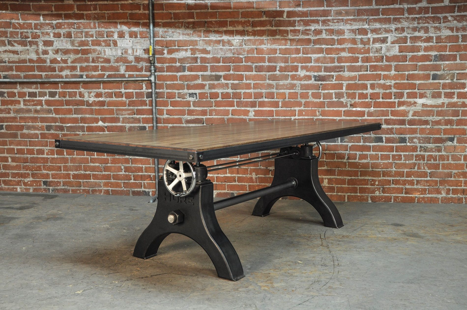 Hure conference table with faux crank vintage industrial furniture - Hure Crank Table With A Boxcar Top By Vintage Industrial Furniture In Phoenix Az
