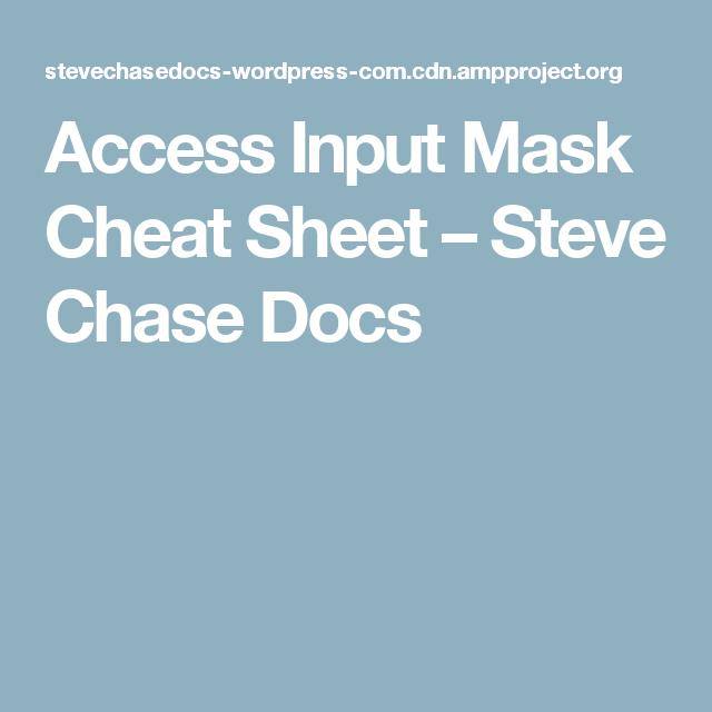 Pos Tester Resume Sample: Access Input Mask Cheat Sheet – Steve Chase Docs