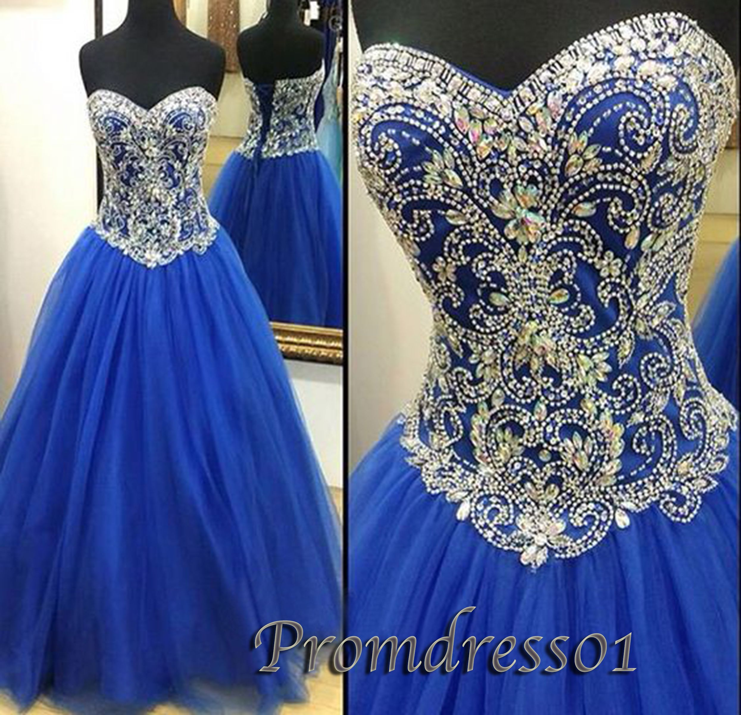 Prom Dresses For Teens Winter Formal Beaded Blue Organza Long