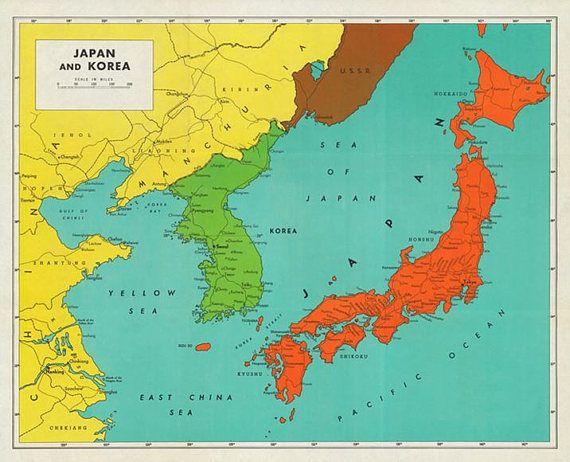 Vintage 1948 japan and korea map digital download map maps vintage vintage 1948 japan and korea map digital download map gumiabroncs Choice Image
