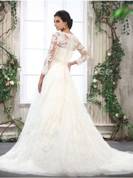 Robe de mari e l gante avec manches longues pour mariage - Robe pour mariage hiver ...