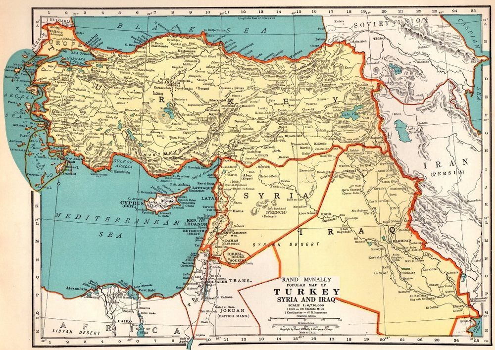 1937 Vintage MAP of TURKEY Syria IRAQ Map Gallery Wall Art Middle