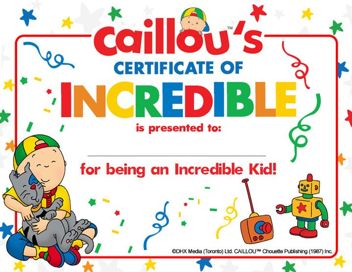 Caillou Printable Sheet – Happy Incredible Kid Day!