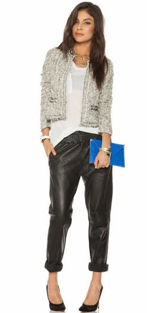 Photo of tweed jacket over relaxed T & pants
