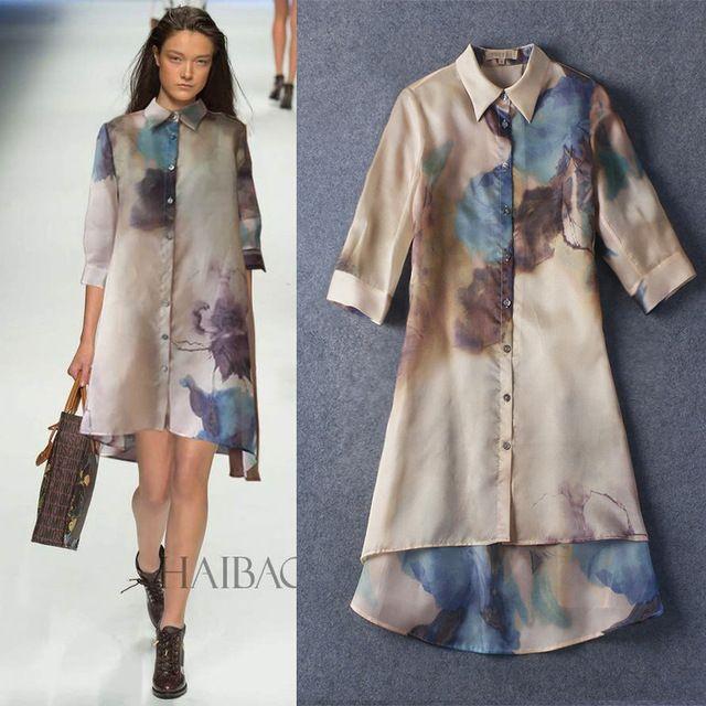 Organza de seda del vestido de verano, elegantes impresos sueltos 100% 150313Z01