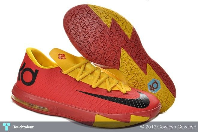 9531bf83d051 Authentic Nike Zoom KD 6 Low Red Yellow Kevin Durant Shoes For Wholesale