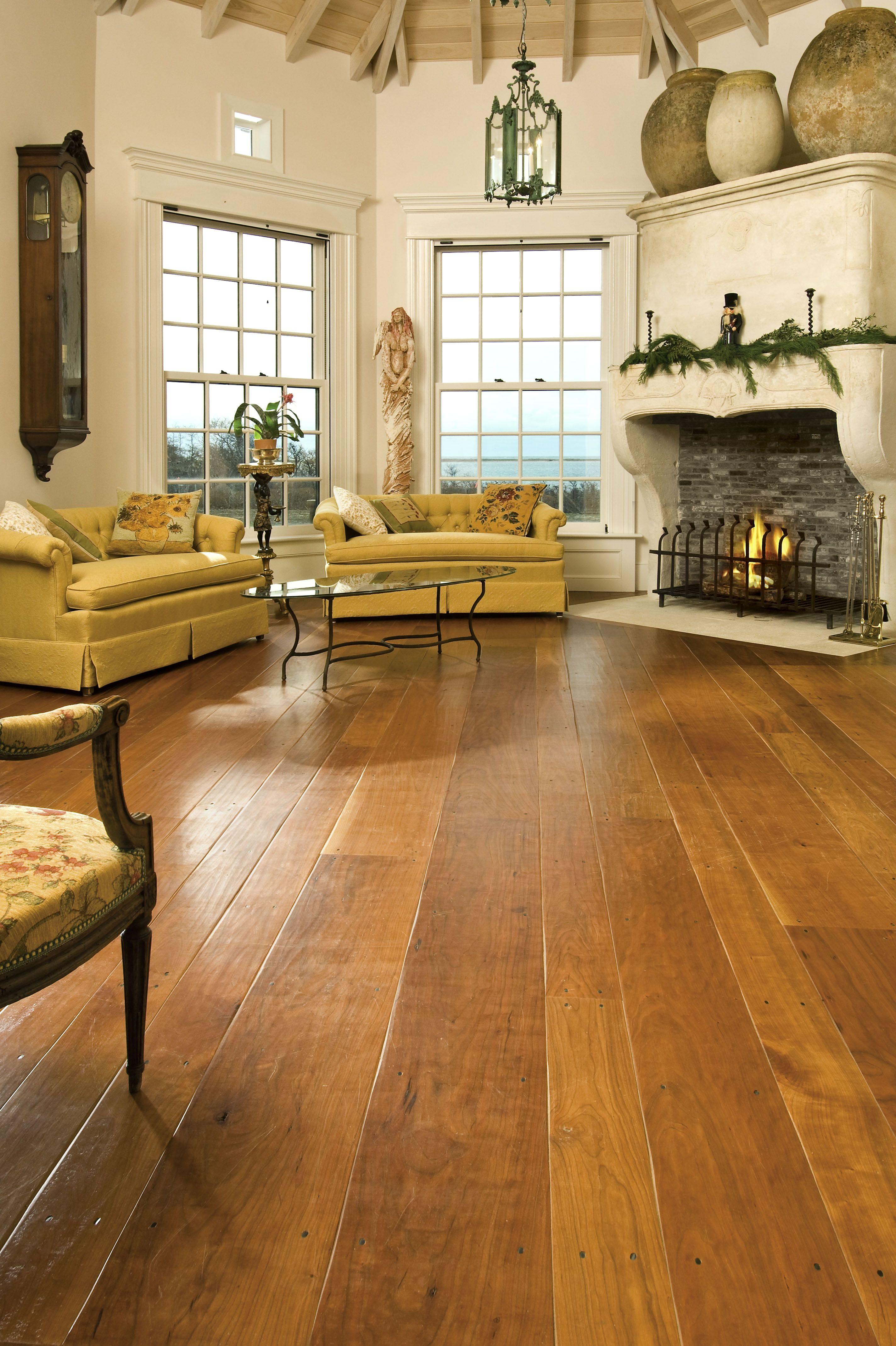 Cherry Hardwood Flooring in a Nantucket Living Room in