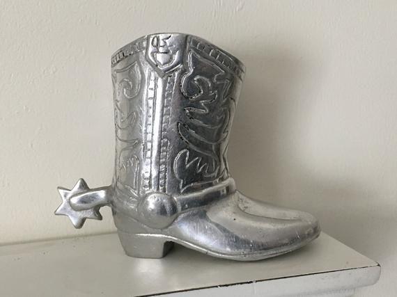 4.5 Aluminum Boot With Spur Planter Vase Knick Knack #knickknack