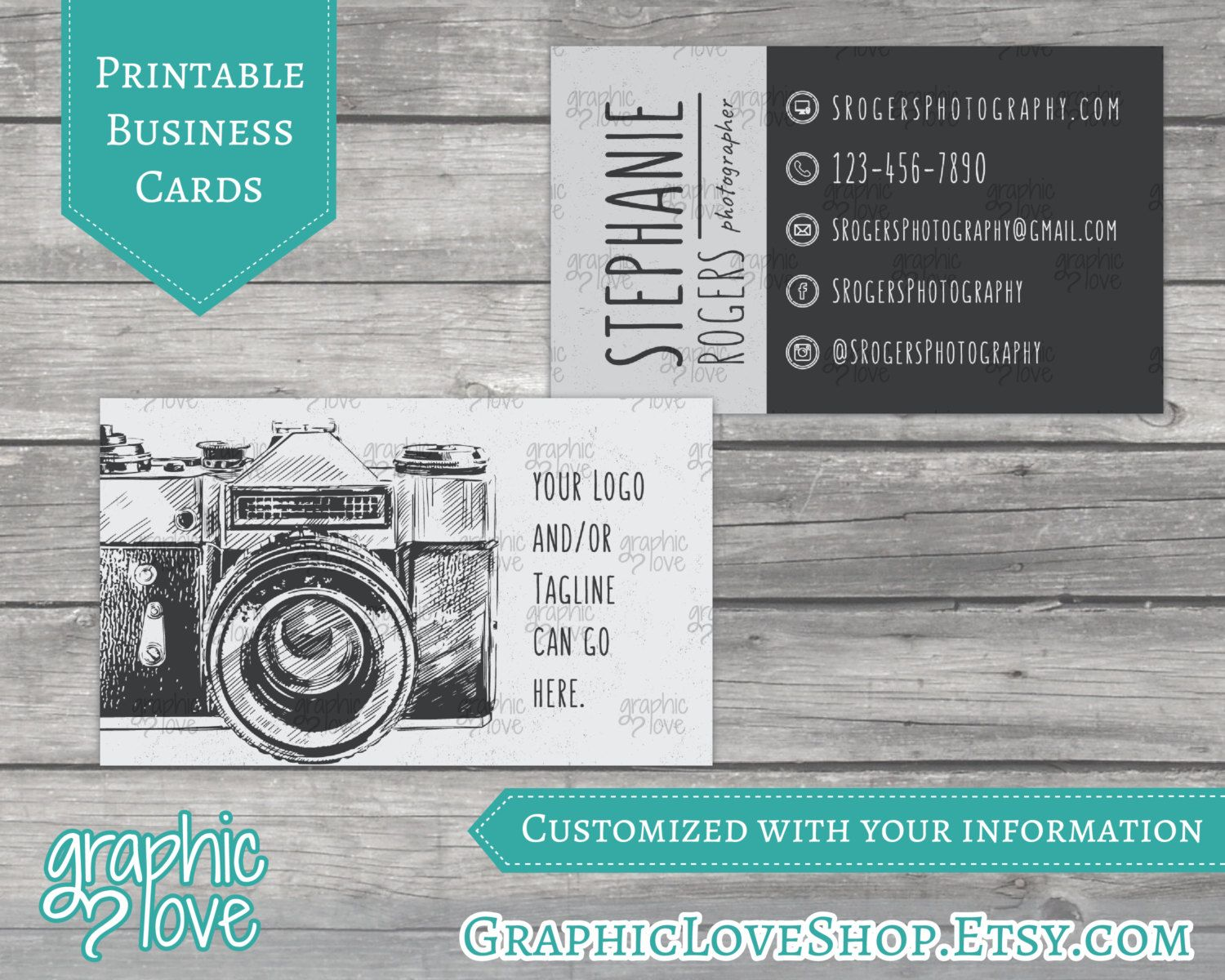 Printable vintage camera photography double sided business cards printable vintage camera photography double sided business cards calling card small business photographer colourmoves