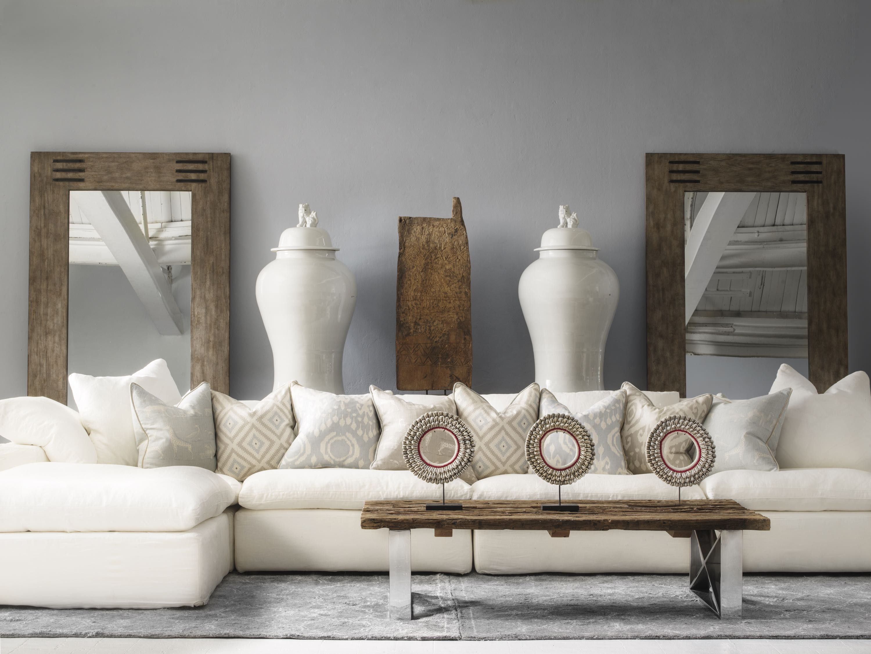 Truman Sectional Sofa In White Linen With Cushions In Kingdom