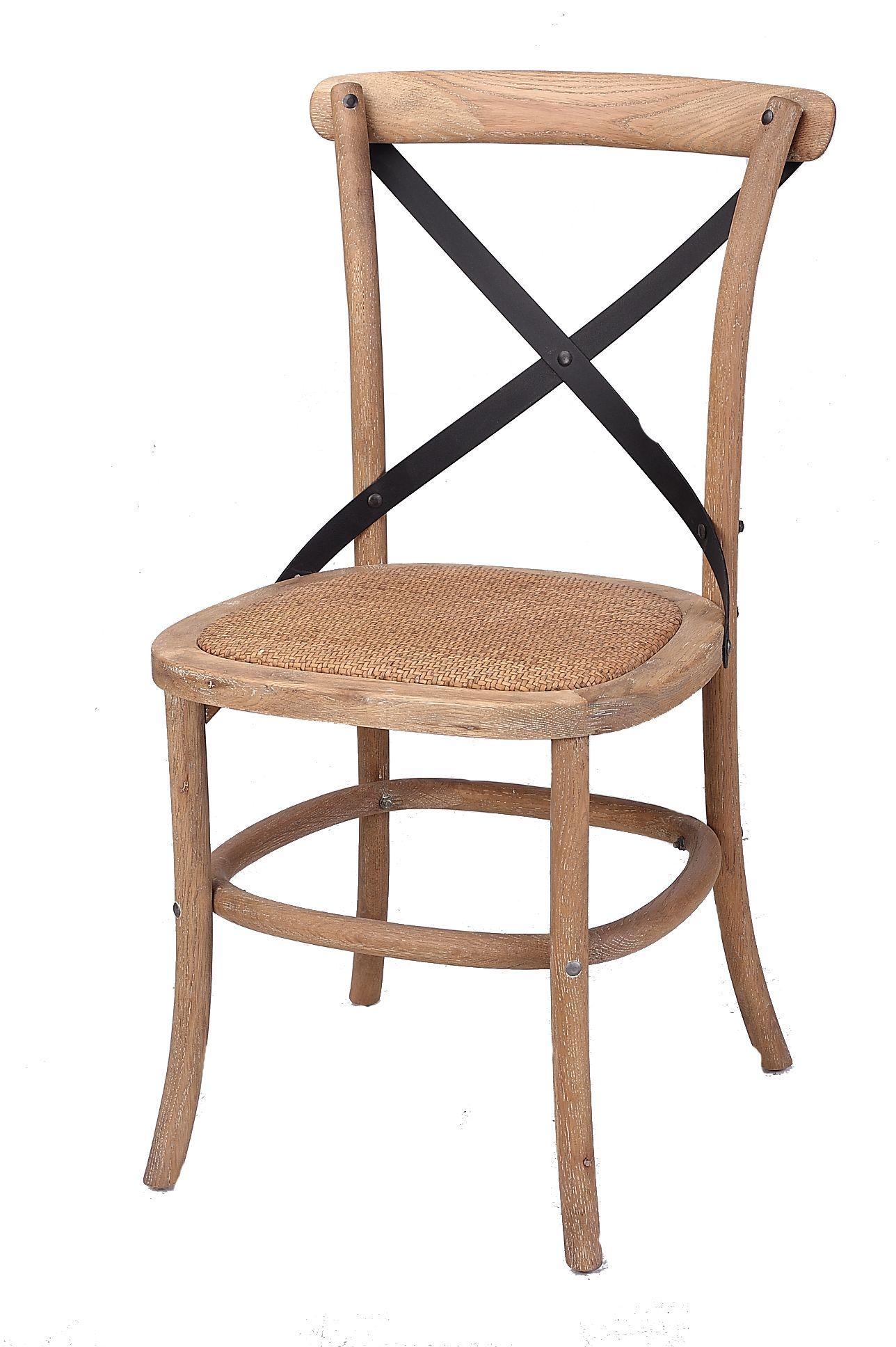 Corona Cross Back Steel Dining Chair With Rattan Seat