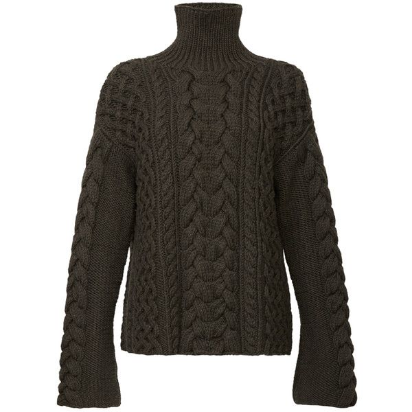Marina Moscone Handknit Cable Sweater (€2.070) ❤ liked on Polyvore featuring tops, sweaters, marina moscone, turtleneck sweater, cable turtleneck, cable knit turtleneck, hand knit sweater and cable sweater