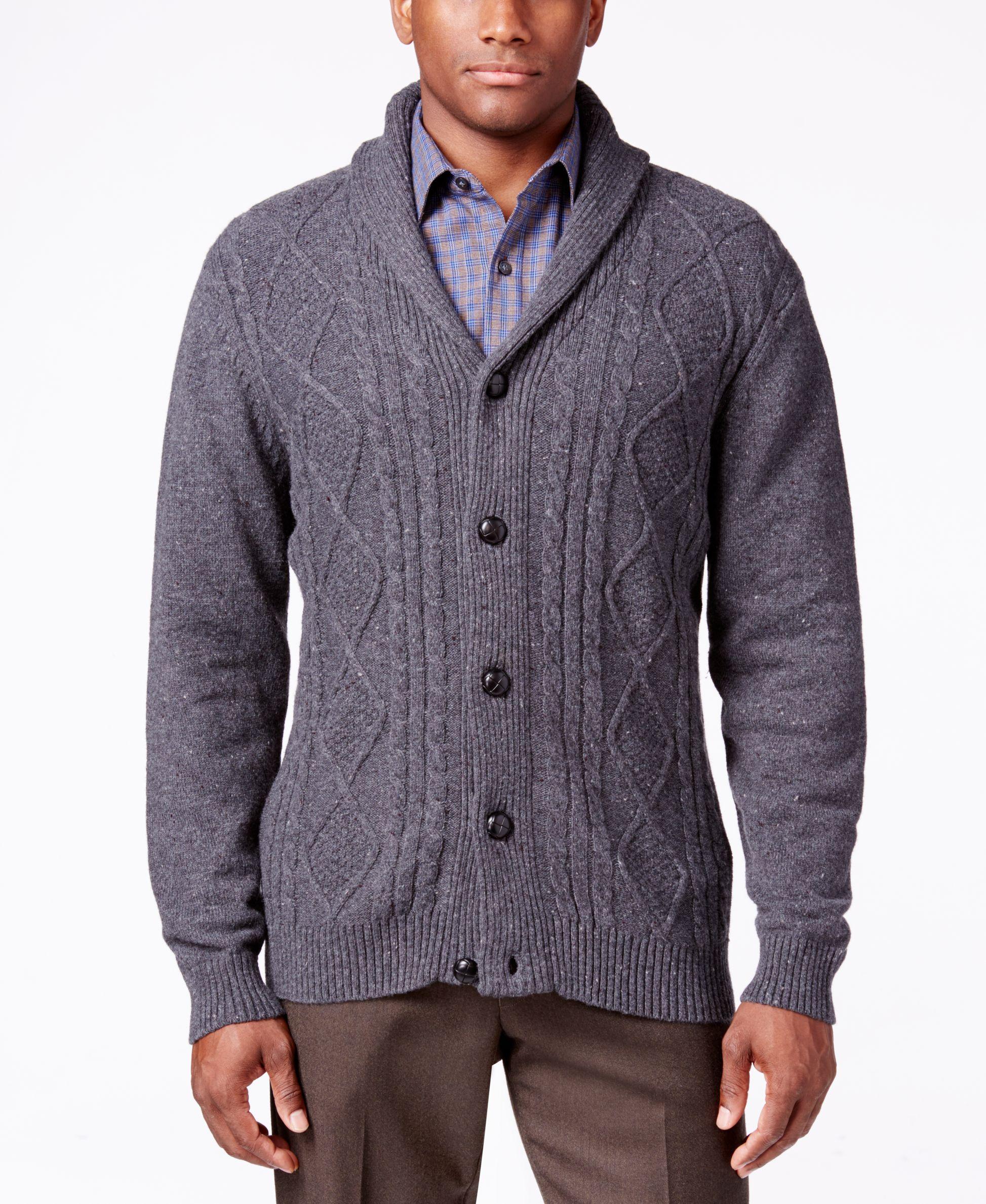35b086965 Tricots St. Raphael Men s Cable-Knit Shawl-Collar Cardigan ...