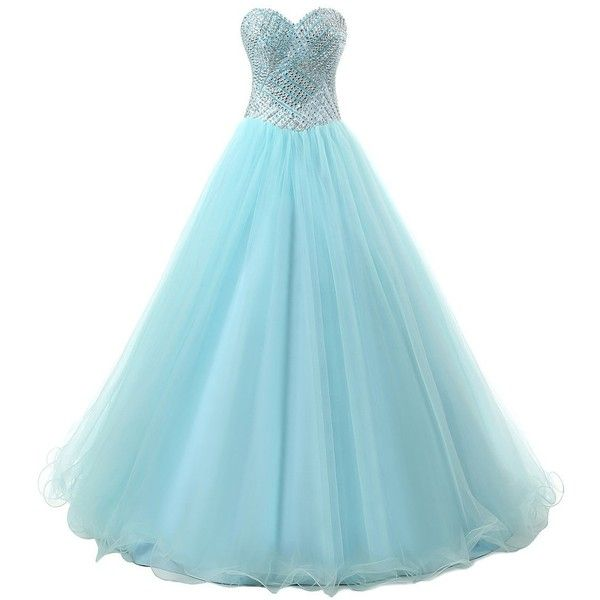 Dresstells Long Prom Dress Tulle Ball Gown Formal Party Dress... (£100) ❤ liked on Polyvore featuring dresses, gowns, prom gowns, long evening dresses, long formal dresses, long blue dress and blue prom dresses
