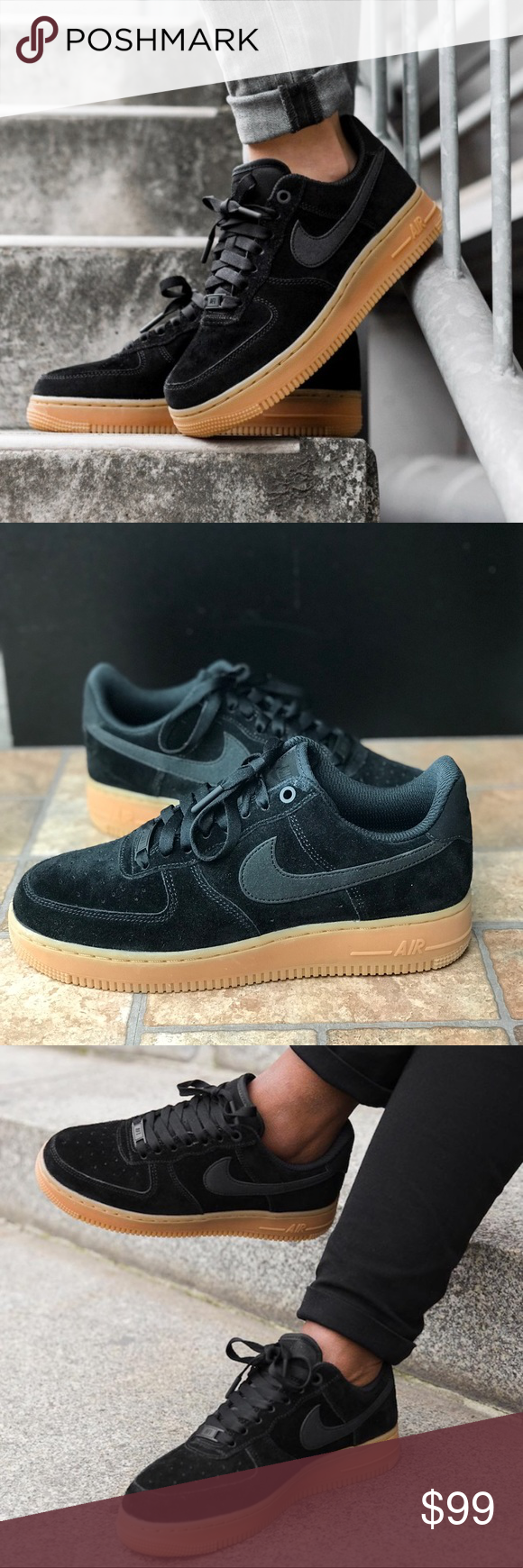 free shipping 02a78 02572 NWT Nike Air Force 1 07 SE Suede Black WMNS Brand new with no lid