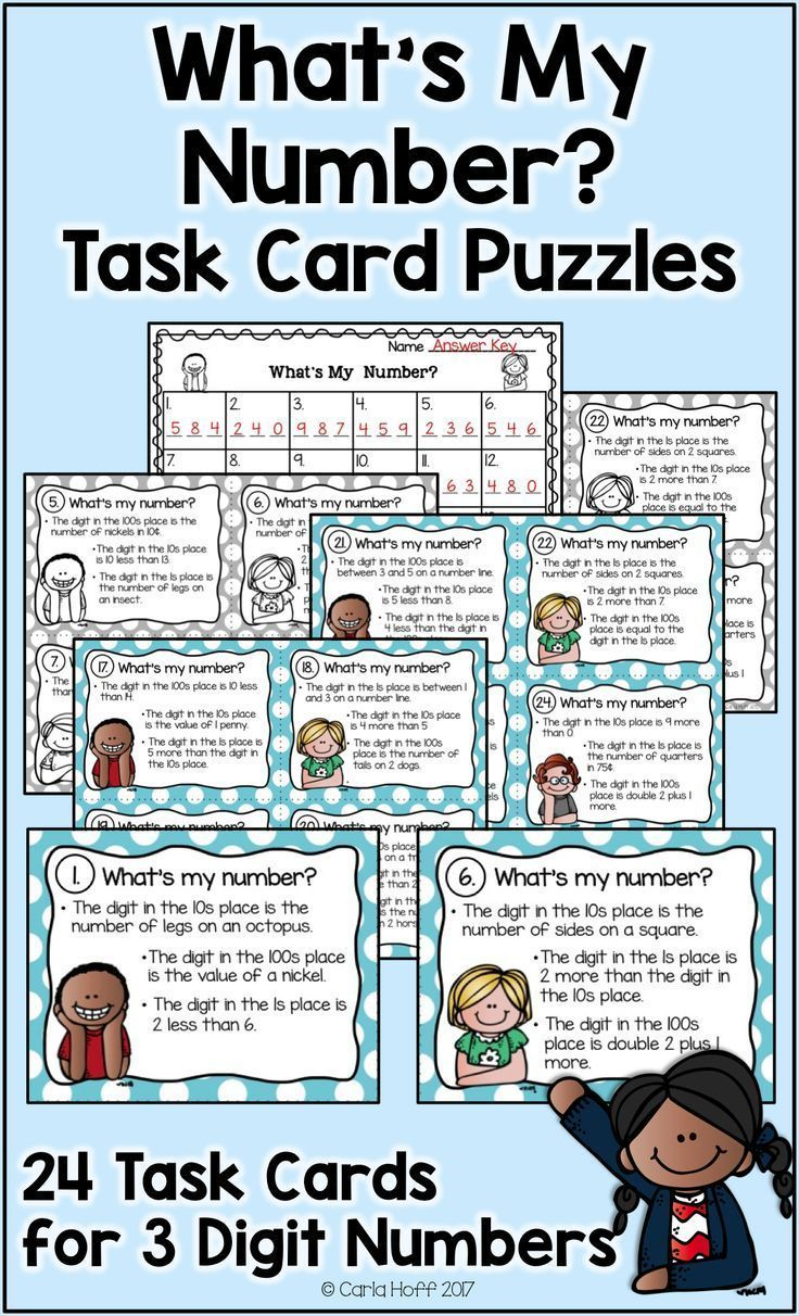 Place Value Task Cards - 3-Digit Numbers - Follow the Clues | Basic ...