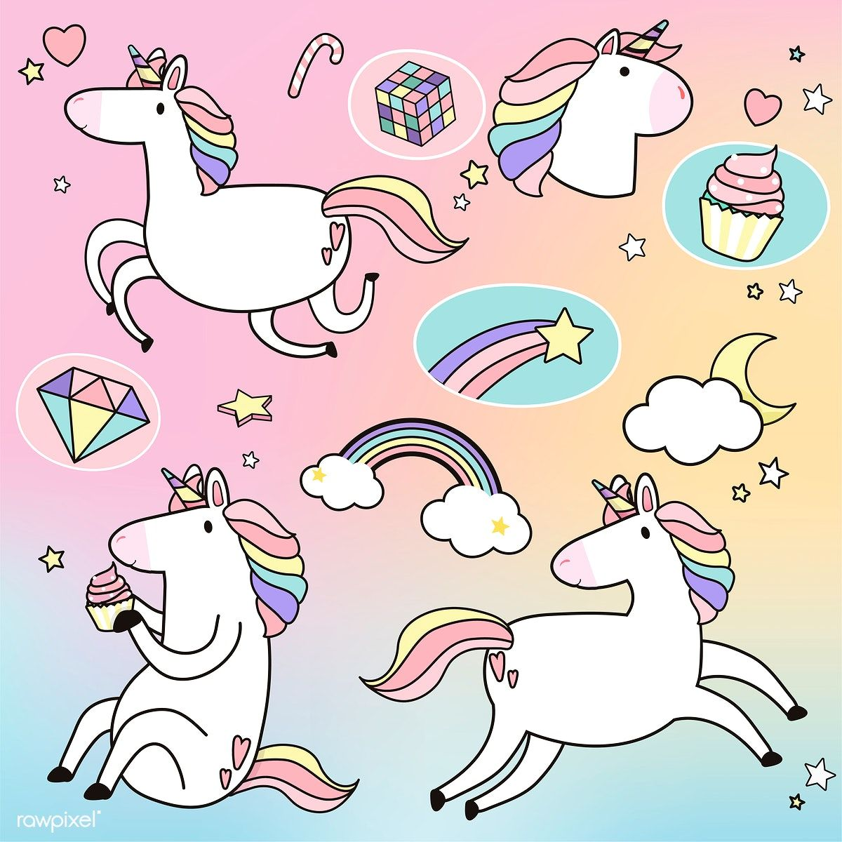 Download premium vector of Cute unicorns with magical elements vector