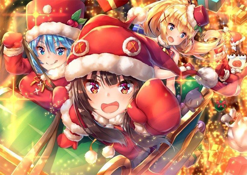 Megumin Aqua And Darkness Wishing You A Merry Christmas Konosuba Anime Christmas Anime Anime Wallpaper