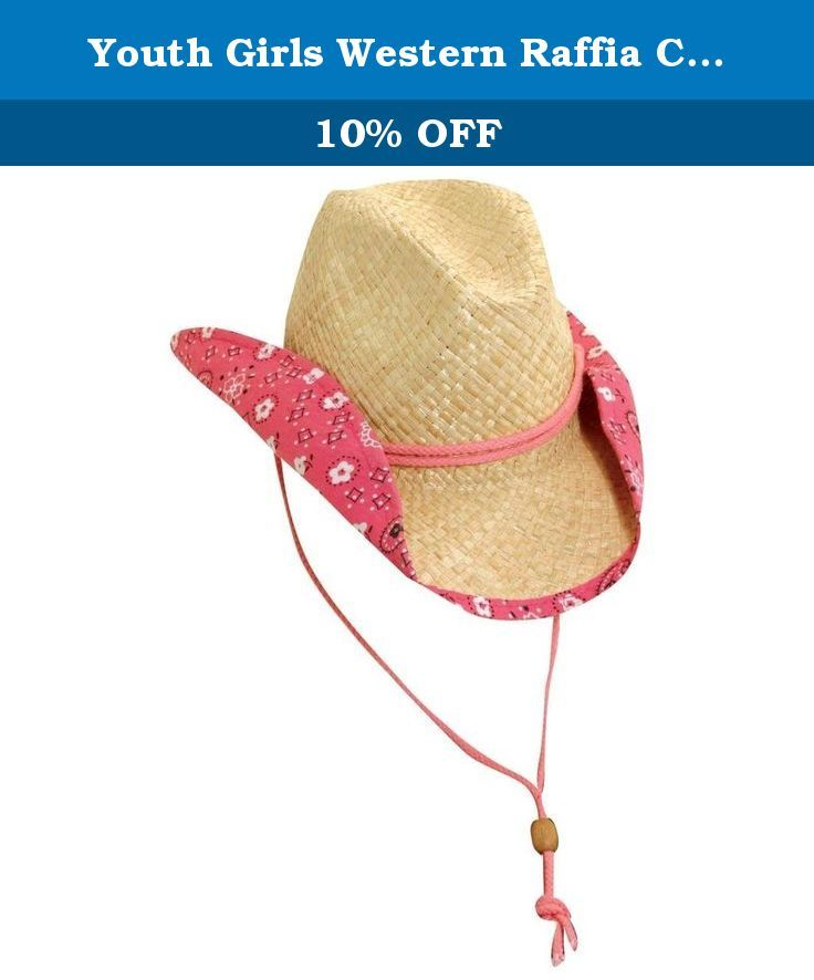 Youth Girls Western Raffia Cowboy Hat - Pink. This cute raffia western hat  will block harmful rays from your childs face as well as add a cute western  look ... 9239e43f5be